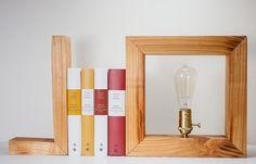 Lamp wood natural - Edison Bulb - Signature Bookends - Modern lighting - Minimalist table lamp.