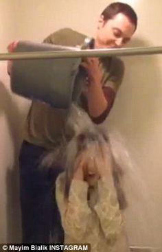 Big bang: Jim Parsons of The Big Bang Theory challenged Mayim Bialik and doused her himself