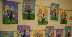 The 1st Grade students studied Wassily Kandinsky and abstract art.  They each were able to make a cicle for the large collaboration ...