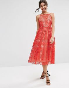 Image 4 ofASOS Premium Occasion Midi Dress In Geo Lace