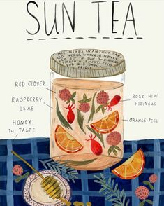 What better way to become acquainted with herbs than by sipping fresh herbal sun teas? Here's how to make herbal sun tea using herbs growing all around you. Yummy Drinks, Healthy Drinks, Healthy Food, Nutrition Drinks, Refreshing Drinks, Detox Drinks, Tea Blends, Kitchen Witch, Herbal Kitchen