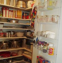 built in kitchen pantry cupboards | ... sunny red and white vintage kitchen for his 1930 Dutch colonial house
