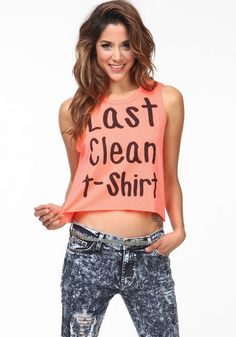 baab12051f Last Clean Tee  neon  graphic  tee  cutoff  tank  muscle   · Dress ...