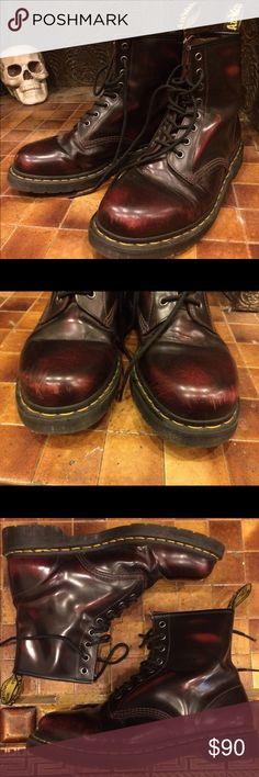 Classic Style Cherry Red Arcadia Doc Martens These boots are nearly flawless! There are a few scuffs on the toes (pictured), but they have only been worn a couple times and almost entirely indoors. For full product information see the current listing on the doc martens website: http://www.drmartens.com/us/p/originals-boots-arcadia-1460 Dr. Martens Shoes Combat & Moto Boots