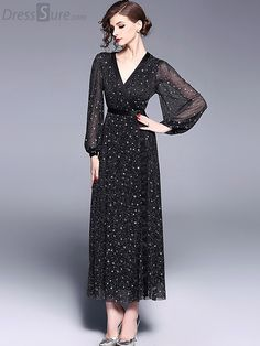 Buy Party V-Neck Long Sleeve Star Pattern Maxi Dress with High Quality and Lovely Service at DressSure.com