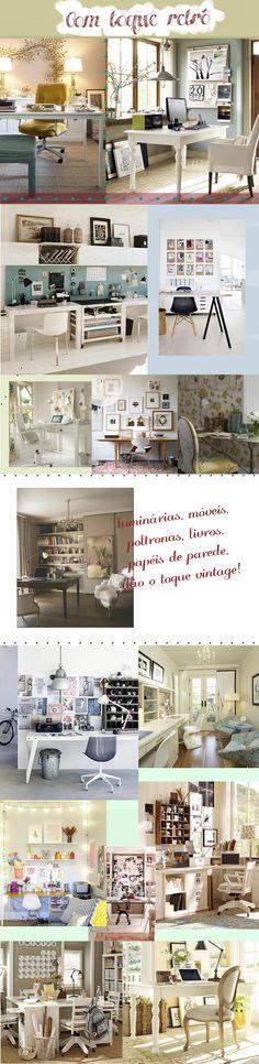 Office / home office / decor / decoração / interior design / retro / vintage decor