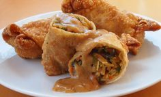 Vegetarian Eggrolls with Awesome Peanut Sauce