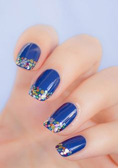 Sparkly French Manicure  15 Must Try Blue Manicures For Summer