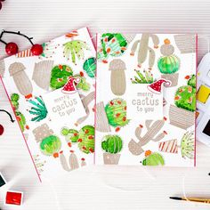 What to do when you are in a desert? Watercolor a cactus and use if for a Holiday Card! How-to video on our blog!