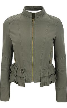 Black Rivet Tiered Ruffle Cotton Jacket