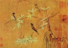 Two Finches, by Chinese Emperor Huizong of Song Dynasty (r. Chinese Painting, Chinese Art, Chinese Emperor, Art Chinois, Ancient Beauty, Japanese Artists, Bead Art, Oeuvre D'art, Paul Klee