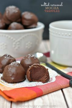 Salted Caramel Mocha Truffles: delicious soft centers that melt in your mouth! Rich, chocolate, mocha flavor!