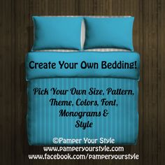 Design my own bedding  Twin  Queen  King Custom by PAMPERYOURSTYLE, $129.00
