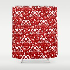 Abstract floral red, white Shower Curtain