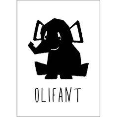 Ansichtkaart zwart-wit Olifant Studio Circus