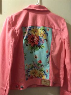 Chaps pink denim jacket with floral inlays