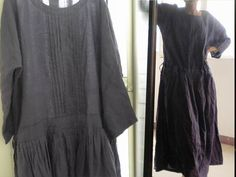 035Pintucked Abandonnés taille Robe en lin noir. Linge Maxi nominale EDOA