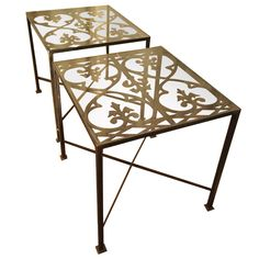 Superb Pair Of Glass Top Iron Gate Tables