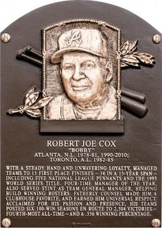 Bobby Cox Born in Tulsa, OK. Elected to the Baseball Hall of Fame in Braves Baseball, Nationals Baseball, Baseball Jerseys, Baseball Players, Baseball Pics, Baseball Wall, Baseball League, Baseball Stuff, Baseball Field