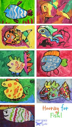 Once the children created their fish, I brought out the tubs of glorious tempera paint. I pre-mixed some special colors so that the fish would be as vibrant as the illustrations in the book. I love tubs of paint and it has become one of my favorite ways to distribute paints.