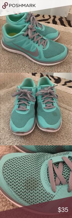 Nike Free 4.0 Tiffany Blue Rare color. A little worn as shown in pictures. Can be cleaned up I'm just lazy honestly. Size 10. No trades. Offers accepted!! Nike Shoes Sneakers