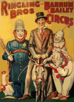 Cross stitch pattern Vintage Ringling Bros & Barnum and Bailey Circus poster PDF - Instant Download! by PenumbraCharts on Etsy