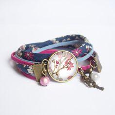 Two row cabochon bracelet, liberty print charm bracelet, romantic bracelet