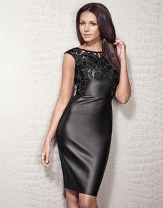 Michelle Keegan Lace Applique Pu Dress