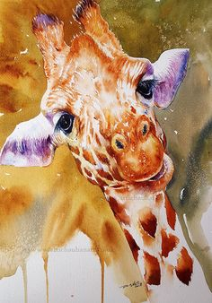 Giraffe Original Watercolour Painting Wall Art Wall Decor