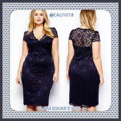New Navy Lace Plus Size Dress Size 2X Prom Fabric: Polyester+Spandex Color: Navy Dark Blue Size: XXL Size(cm) Bust       Waist      Hip         Length XXL       96-120    86-112    100-134   108 Fully lined with sweetheart neck, the lace body is stretchy as well as body-hugging, the exquisite scalloped neck enhances the wearer a deeper cleavage and full breasts, terrific with delicate trims. Boutique Dresses