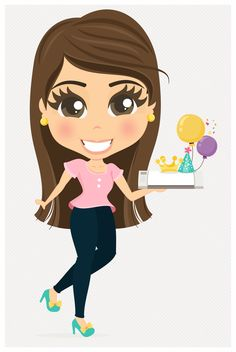 Maya Aguilar | Designer Cute: Mascote Birthday Wishes, Girl Birthday, Donia, People Illustration, Logo Food, Digital Stamps, Big Eyes, Girl Humor, Silhouette