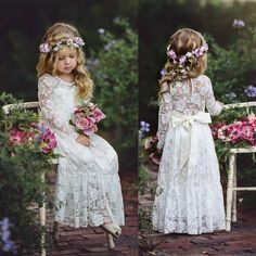 Boho Sweety Long Sleeve 2017 Sheath Flower Girls Dresses Jewel Illusion Sexy Back Empire with Bow Lace Appliques Floor-length Pageant Gowns Monsoon Flower Girl Dress, Simple Flower Girl Dresses, Boho Flower Girl, Lace Flower Girls, Flower Girl Dresses Country, Vintage Flower Girls, Flower Girl Headbands, Lace Flowers, Vintage Flowers
