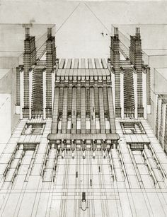 Antonio Sant'Elia. Central Station project for Milan. 1914 #architecture #milan