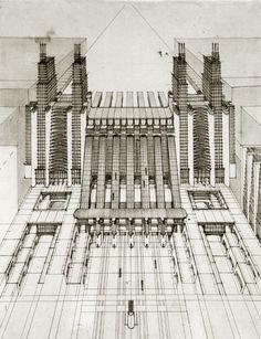 Antonio Sant'Elia - Progetto Stazione Centale di MIlano - 1914