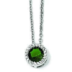 Cheryl M Sterling Silver Glass Simulated Emerald & CZ Pendant Necklace SKU: QGQCM932 $27.99