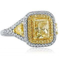 Yellow Diamond Engagement Ring, Ct, Radiant Cut Diamond Engagement Ring w/ Bullet Cut Side Diamonds, Halo Diamond Ring, White Gold Radiant Cut Engagement Rings, Yellow Diamond Engagement Ring, Halo Engagement, Radiant Cut Diamond, Diamond Cuts, Gold Heart Bracelet, Gold Bracelets, Yellow Jewelry, Thing 1