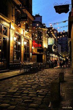 cobble stone street at night