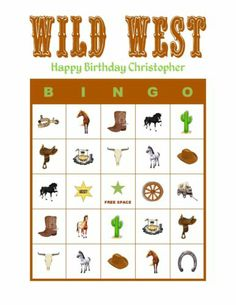 Personalized Wild West Horse Birthday Party Game Bingo Cards Delivered by Email - horse party bingo Horse Birthday Parties, Cowboy Birthday Party, Cowgirl Party, Birthday Party Games, Cowboy Party Games, Country Birthday, Soccer Party, Pirate Party, Wild West Theme