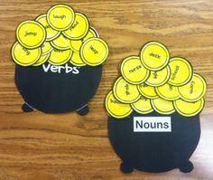 Sorting Nouns and Verbs  #LanguageArts #St.Patrick'sDay