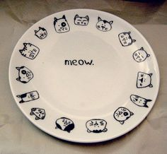 Meow hand painted porcelain plate by NvardYerkanian on Etsy, €30.67