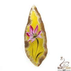 Yellow Stone  Flower Hand Painted  Lotus Pendant Natural Gemstone  ZL804576 #ZL #Pendant
