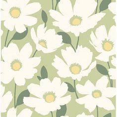 Ebern Designs Astera Grey Floral Wallpaper in Green | Wayfair | Home Decor