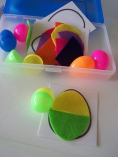 Color matching eggs Busy Bag with 5 activities. $30.00, via Etsy.