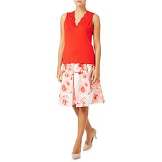 Buy Jacques Vert Lace Insert Top, Mid Red Online at johnlewis.com