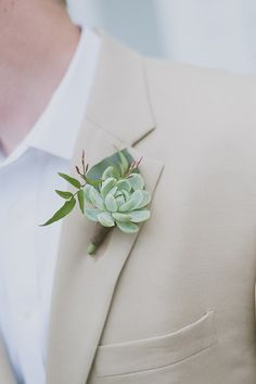 tan suit and succulent boutonniere groom look - LOVE