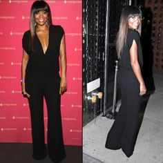 Gabrielle Union in a black jumpsuit designed by Lala Anthony Designer Jumpsuits, Rachel Pally, Gabrielle Union, Caftan Dress, Black Jumpsuit, The Chic, Girl Crushes, Get The Look, Style Me