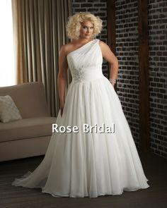 One strap plus size wedding dress