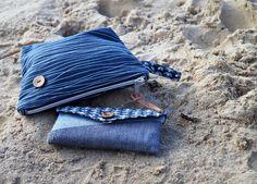 Stoff Streifen - Unregelmäßige Streifen d.blau - ein Designerstück von Mai-Lu bei DaWanda Mai, Coin Purse, Purses, Wallet, Etsy, Fashion, Stripes, Handbags, Moda