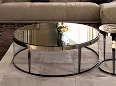 Round mirrored glass coffee table Amadeus Loveluxe Collection by Fratelli Longhi design Giuseppe Vigan�