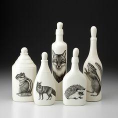 Set of 5 Bottles: Woodland #2 - Laura Zindel Design